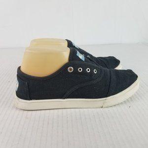 Toms Sz 7.5 No Lace Slip on Canvas Black Sneakers